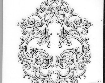 Deep Red Cling Stamps --  Iron Fleur de lis -- NEW -- (#2958)
