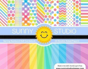 6 x 6 Paper Pad ~  Sunny Studios  ~ Spring Sunburst ~ Double sided NEW (#3161)