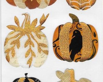 Jolee's -- Vintage Metallic Pumpkin Stickers -- Halloween -- NEW (#2805)