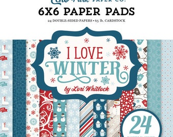 6 x 6 Paper Pad ~ I Love Winter ~ Double sided  NEW  (#2627)