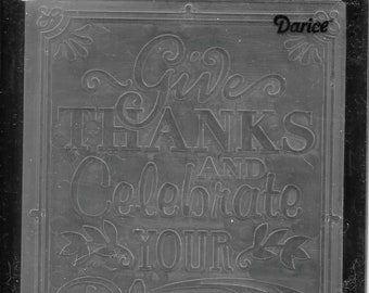 Darice Embossing Folder -- New -- Give Thanks Verse Bold -- (#3049)