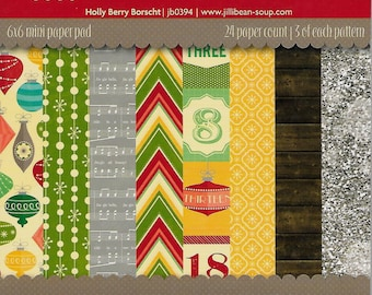 6 x 6  Paper Pad  ~~ Holly Berry Borscht  ~~  Jillibean Soup Brand  --  NEW  (#1518)