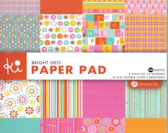 6 x 6  Paper Pad  ~~  Bright Geo  ~~   Double sided paper  ~~  NEW  (#1356)