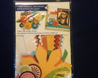 Little Yellow Bicycle --  Paper Flower Kit  --   (48 pieces) --   NEW -- (#535)