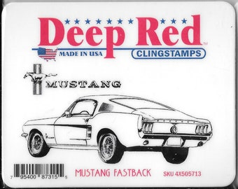 Deep Red Cling Stamps --  Mustang Fastback -- NEW -- (#2934)