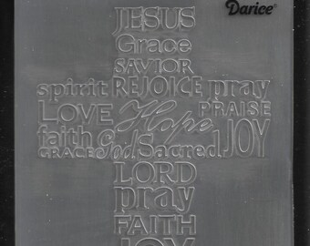 Darice Embossing Folder -- New -- Cross with Script -- (#3105)