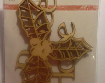 KaiserCraft  --  Wood Flourishes  --  Christmas  --  New  --    (#1552)  -- 4 pieces