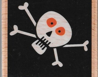 Skull and Crossbones Halloween Stamp --   NEW  -- Wood Mounted Rubber Stamp --  Studio G Brand --   (#1433)