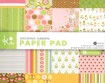 6 x 6  Paper Pad  ~~  Growing Garden  ~~   Double sided paper  ~~  NEW  (#1355)