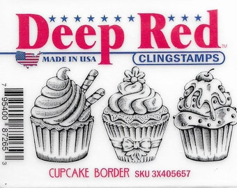 Deep Red Cling Stamps --  Cupcake Border   -- NEW -- (#3229)