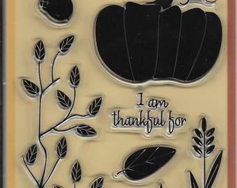 Inkadinkado Brand Clear Acrylic Stamp Set  --  NEW -- Harvest Dinner  (#2584)