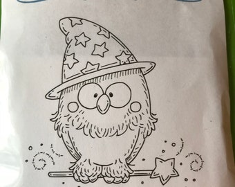 Whimsy Stamps -- Little Wizard Owl  -- NEW -- (#2832)