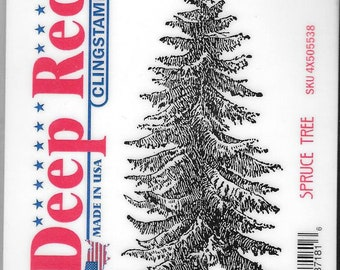 Deep Red Cling Stamps -- Spruce Tree  -- NEW -- (#2935)