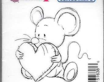 Deep Red Cling Stamps --  Big Heart Mousie -- NEW -- (#2886)