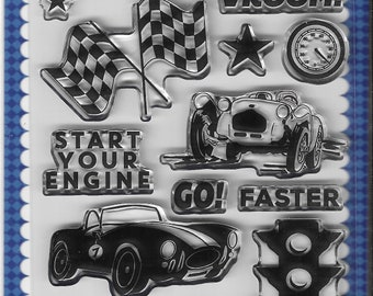 Carta Bella Cling Stamps -- Start Your Engine Stamp Set -- NEW -- (#3389)