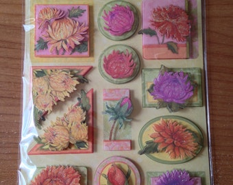 K & Company Grand Adhesions -- SW Spring Blossom Peonies -- NEW --  dimensional stickers (#1716)