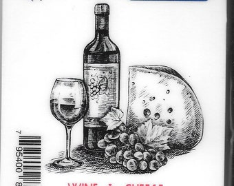 Deep Red Cling Stamps -- Wine & Cheese  -- NEW -- (#2713)
