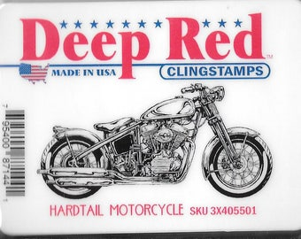 Deep Red Cling Stamps --  Hardtail Motorcycle  -- NEW -- (#2537)