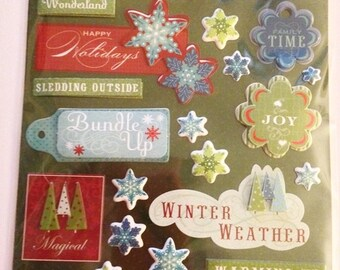 K & C LLO  --  Winter Words   --  NEW --  dimensional stickers  (#1892)  Winter