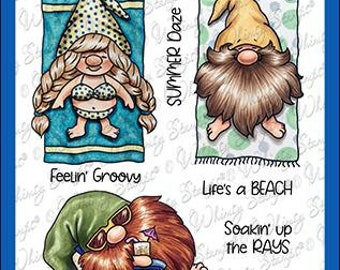 Whimsy Stamps --   Gnomes at the Beach    -- NEW  -- (#4251)