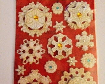 K & Company  -- TC Christmas Embossed Snowflakes -- NEW -- dimensional stickers  (#1928)