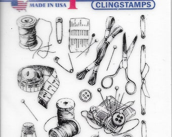 Deep Red Cling Stamps --   Sewing Notions    -- NEW -- (#3407)