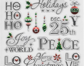 Foil Embossed Stickers --  NEW  (#1936)  --  Words of the Season #3 -  Christmas