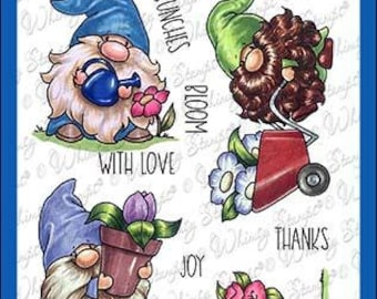 Whimsy Stamps --    Gnome Gardeners   -- NEW  -- (#4250)