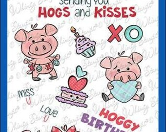 Whimsy Stamps --   Hogs and Kisses    -- NEW  -- (#3601)