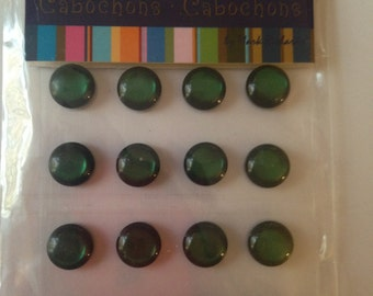 Mark Richards  --  Crystal Cabochons  --  NEW  --  16 pieces --  Green  --  10 mm  --  (#767)
