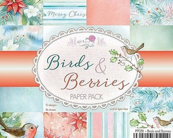 6 x 6  Paper Pad ~ Birds & Berries ~ Christmas ~ Wild Rose Studio Brand ~ NEW  (#1952)