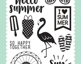 Echo Park Cling Stamps --  I Heart Summer  -- NEW -- (#3948)