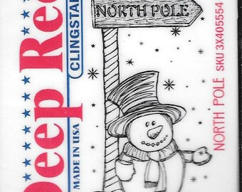 Deep Red Cling Stamps --   North Pole -- NEW -- (#2922)