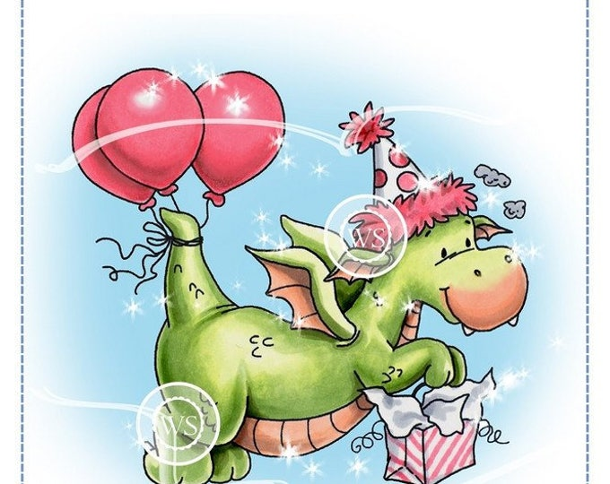 Featured listing image: Whimsy Stamps --  Dragon Party -- NEW -- (#2298)
