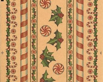 Seasonal Kraft Stickers  - NEW (#1963) -  Christmas Borders, Vintage Christmas