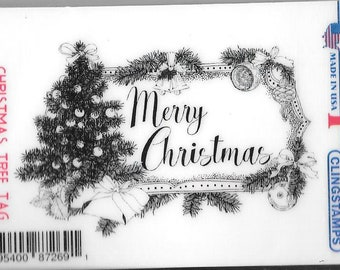 Deep Red Cling Stamps -- Christmas Tree Tag  -- NEW -- (#2926)