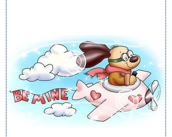 Whimsy Stamps --  Doggie Skywriter Valentine -- NEW -- (#2651)