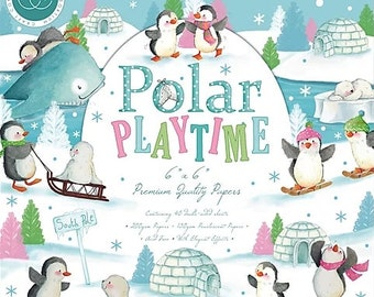 6 x 6 Paper Pad ~  Polar Playtime  --   Double sided  - NEW (#3503)