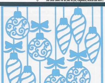 Clear Scraps Designer Stencil -- New -- Swirl Christmas  Bulbs   -- (#3557)