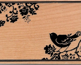 Bird with flowers Stamp --   NEW  -- Wood Mounted Rubber Stamp --  Inkadinkado Brand --   (#1660)