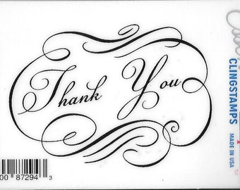 Deep Red Cling Stamps --  Fancy Thank You -- NEW -- (#2959)