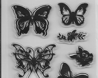 Clear Stamp Set --  NEW  --  Butterfly Fancy  --  (#2002)