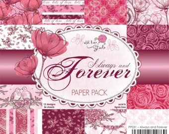 6 x 6 Paper Pack ~~ Always and Forever ~~ Wild Rose Studio Brand ~~ NEW (#2464)