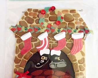 Jolee's Boutique -- Christmas Fireplace  -- NEW --  (#3025)  Santa down the chimney