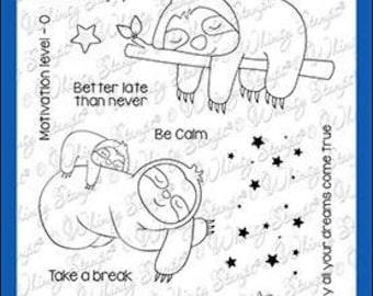 Whimsy Stamps --  Sleepy Sloths     -- NEW  -- (#3602)