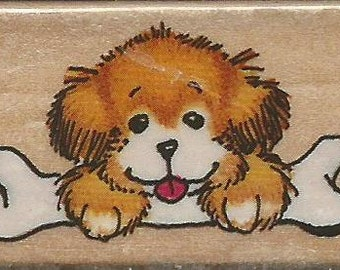 Puppy with a bone Stamp -- NEW -- Wood Mounted Rubber Stamp -- Rubber Stampede Brand -- (#1413)