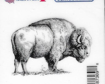 Deep Red Cling Stamps --    American Buffalo     -- NEW -- (#3820)