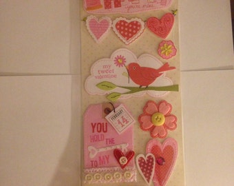 K & Company  Valentine Stitched Adornments --  --  NEW  --  self adhesive dimensional stickers  (#956)