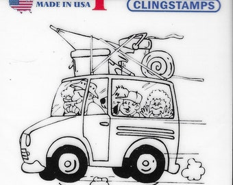 Deep Red Cling Stamps --   Summer Vacation       -- NEW -- (#3827)