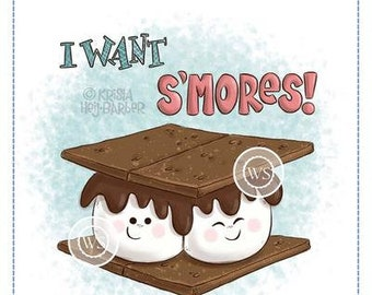 Whimsy Stamps --    I Want S'mores   -- NEW  -- (#3720)
